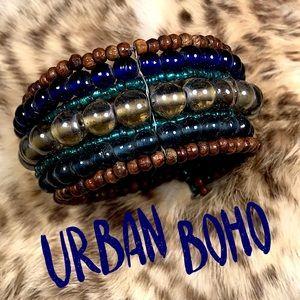 Beaded bohemian boho wood bracelet cuff